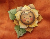 "The ""Sunflower with a Wink"" Wood pin"