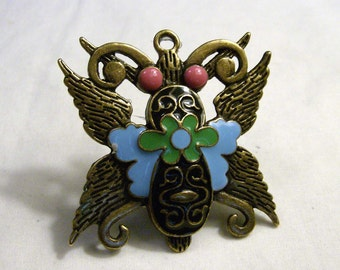Butterfly ring/Large moth ring/ turquoise, pink, green antique brass moth ring