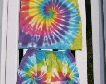 rainbow spiral toddler short set, tie dye baby short set, baby tie dyes/ tie dyes for toddlers