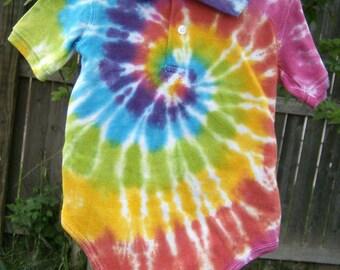 rainbow spiral baby one piece polo