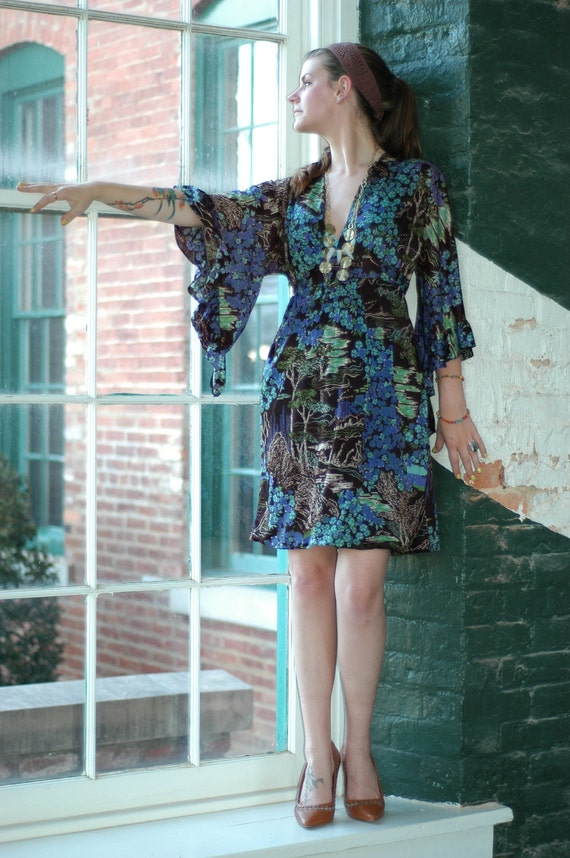 The Kimono Peacock Dress - Vintage Fabric Size S-L