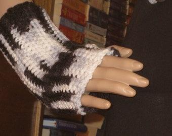Black and White Fingerless Gloves