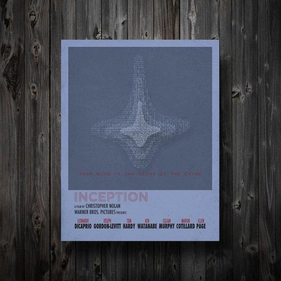 "Inception Minimalist Movie Poster 11"" x 17"""