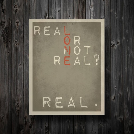"""Real or Not Real Hunger Games Inspired Poster 11"""" x 14"""""""