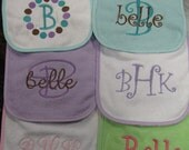Set of three monogrammed bibs--you choose design