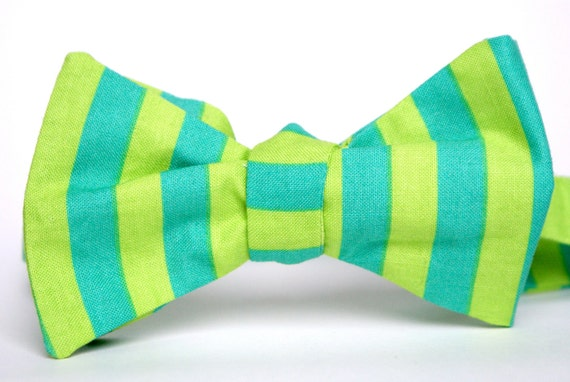 Lime and Turquoise Striped Bow Tie
