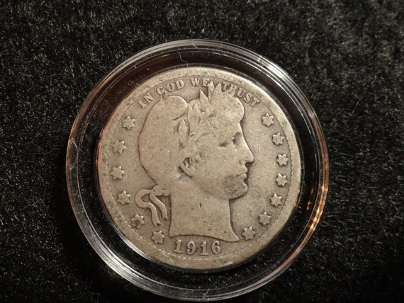 Circulated 1916-D Barber or Liberty Head SILVER Quarter. 90% SILVER