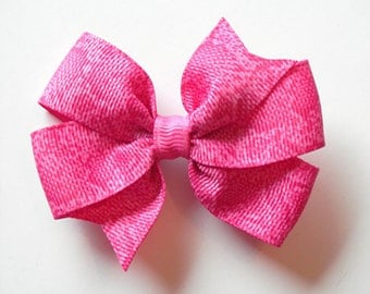 "Hot Pink Hair Bow - 3"" or 4"" Medium Pinwheel Hair Bow - Hot Pink Snakeskin Bow"