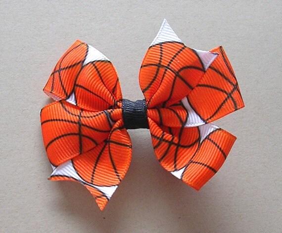 "Basketball Hair Bow - 3"" or 4""  Medium Pinwheel Bow - Sports Hair Bow - Basketball Bow - Orange and Black Basketballs"