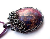 Wire wrapped silver pendant, geometric oval Jasper necklace, purple viola galaxy, unique gift