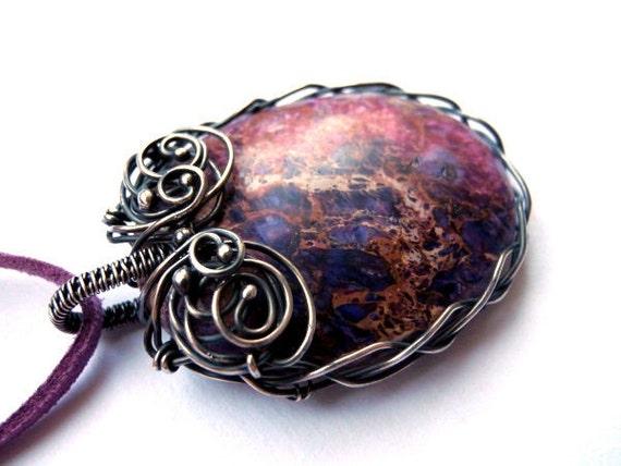 Wire wrapped silver pendant, geometric oval Jasper necklace, purple viola galaxy, unique gift