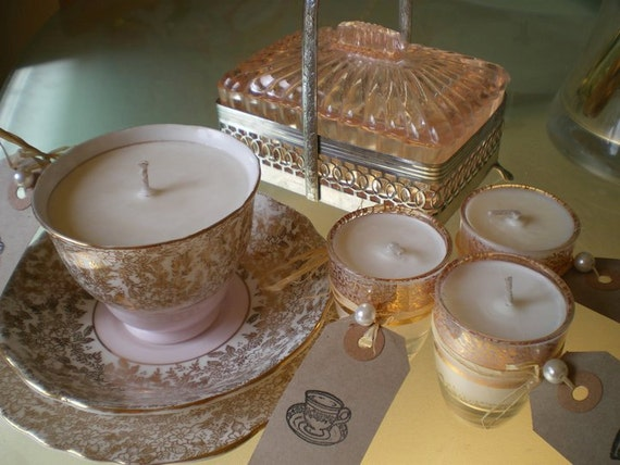 Beautiful Pink and Filigree Vintage Teacup Candle ,Side Plate & Cupcake Candle