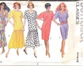 1990 Printed Sewing Pattern Butterick 4916 Misses dress, top & skirt size 14-18