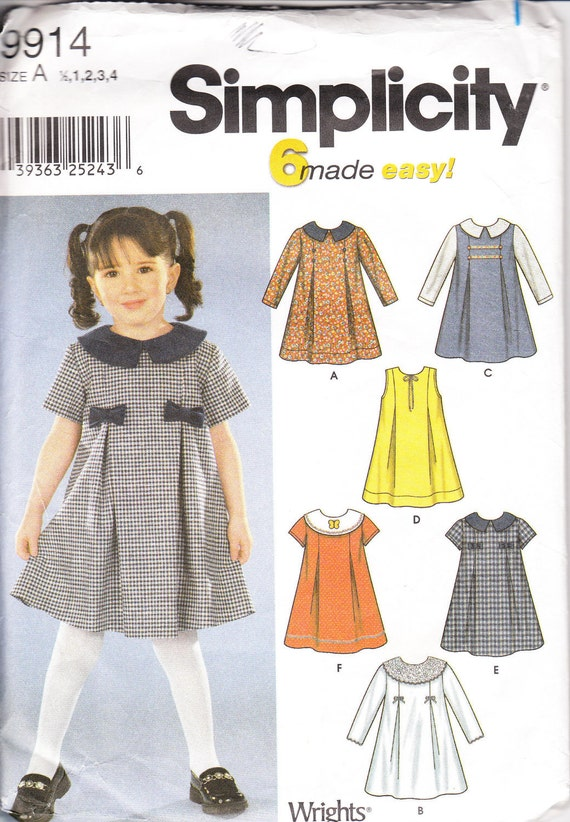 Sewing Pattern Simplicity 9914 toldder dress sizes 1/2-4