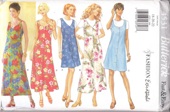 1996 Sewing Pattern Butterick 4531 Misses jumper and top size 18-22