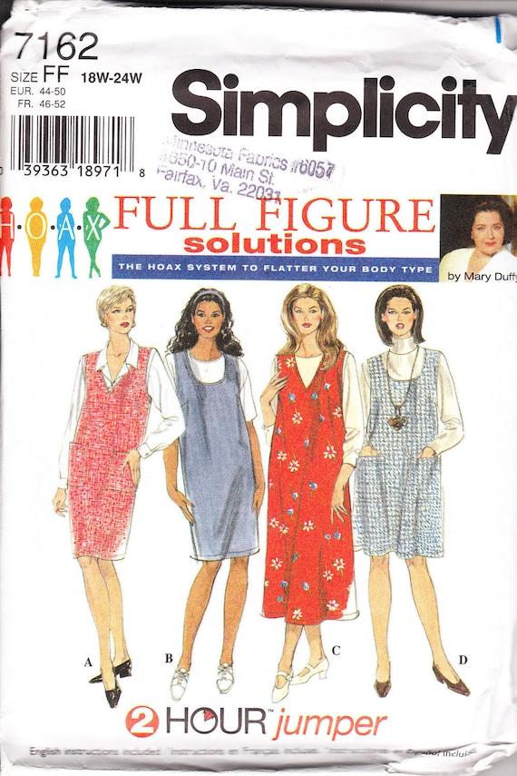 1996 Sewing Pattern Simplicity 7162 women's jumper size 18w-24w