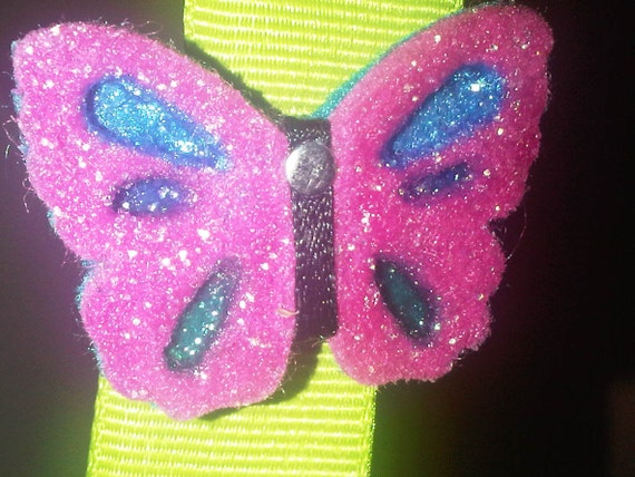 French Hair Clips 2 Pink Felt Butterflies with Black Ribbon Body & Silver Stud Head in Plain or Sparkle
