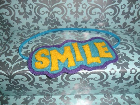 Smile - Headband in Sunshine Lemon Yellow, Teal Aqua Blue, Purple Grape, Photo Prop, Wearable Art