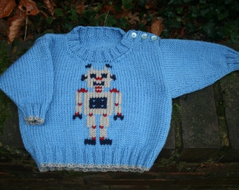 KNITTING PDF PATTERN - Robot Robert Sweater for Babies and Toddlers