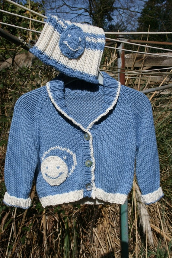 KNITTING PDF PATTERN - Smiley Baby - Baby's cardigan and hat