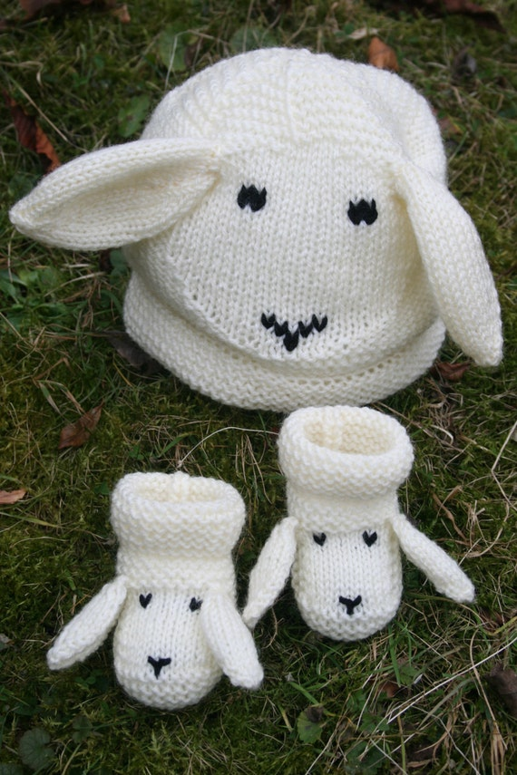 Crochet Pattern For Baby Lamb Hat : BABY KNITTING PATTERN in pdf Snugly Sheep Hat and by ...