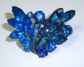 Vintage Weiss Brooch Pin in Blues - Stunningly Beautiful Blues
