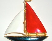 Gerry's Vintage Sailboat Brooch in Red White & Blue Nautical Figural Retro Pin