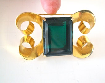 Coro Sterling Art Deco Brooch Huge Green Designer Mad Men Fashion Holiday Party Jewelry Gift