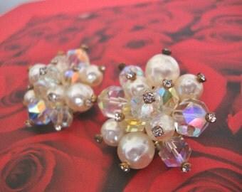 Laguna White Bead & Rhinestone Cluster Earrings Bridal Wedding Faux Pearl Rhinestone Mad Men Retro Jewelry