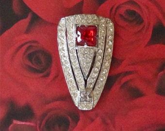 Vintage Cherry Red Rhinestone Fur Clip Retro Fashion Accessory