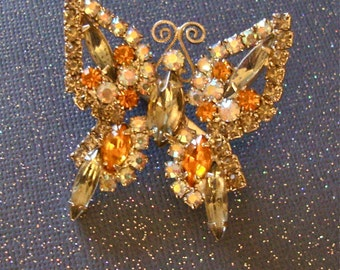 Vintage Rhinestone Butterfly Brooch Scatter Pin Retro Fashion Figural Jewelry