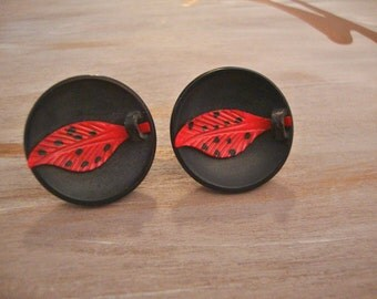 Vintage Plastic Red & Black Earrings