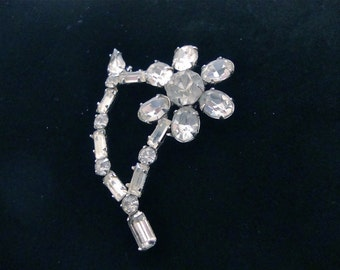 Vintage Rhinestone Flower Brooch Juliana Style Figural Jewelry