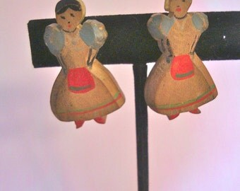 Antique Hand Carved Earrings Wooden Lady in Apron Earrings Hand Painted