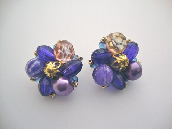 Vintage Germany Purple Clip Earrings