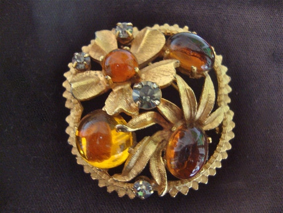 Brooch-Buckle Amber  Poured Glass
