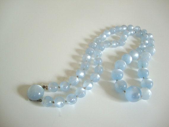Richelieu Vintage Pale Blue Bead Necklace