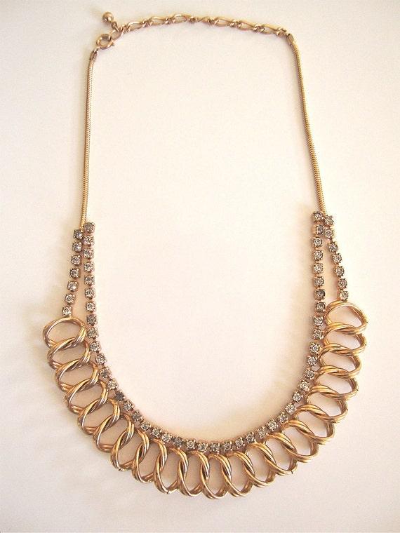 Art Deco Signed Necklace Gold Tone & Rhinestones