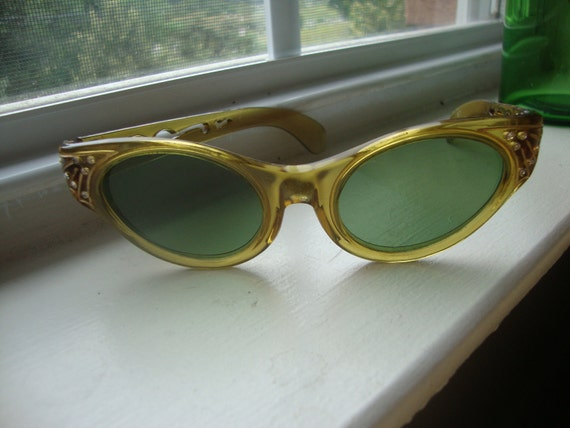 Vintage Sunglasses Rhinestones and Cut Out Frames Olive Drab