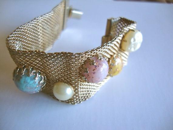 Vintage Mesh Metal Bracelet with Multi Color Cabochons
