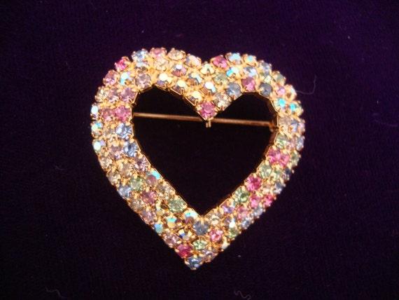 Vintage Rhinestone Heart Brooch Multi Color Valentines Love Mad Men Retro Party Jewelry