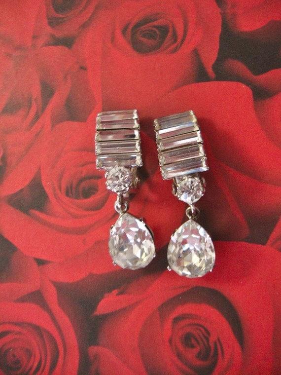 Art Deco Rhinestone Runway Bridal Wedding Earrings with Huge Teardrop Dangle