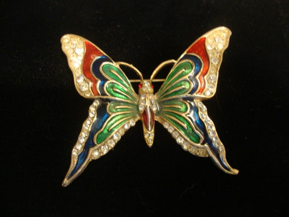 Antique Butterfly Jelly Belly Brooch with Rhinestone Detail Vintage Figural Jewelry