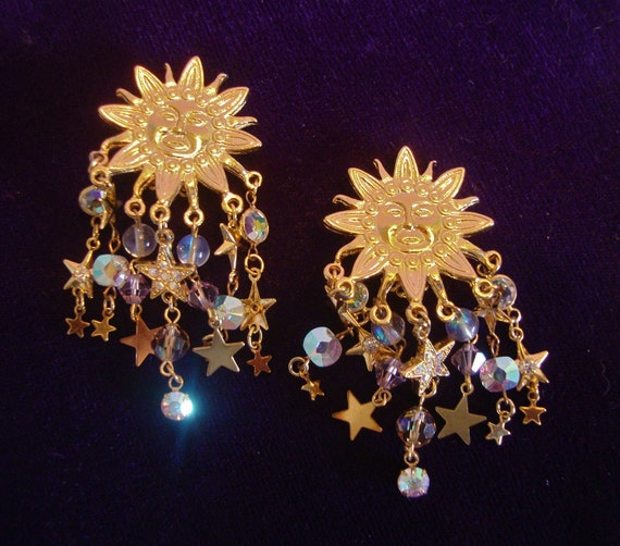 Kirk's Folly Celestial Dangle Earrings Clip On Retro Vintage Fashion Jewelry