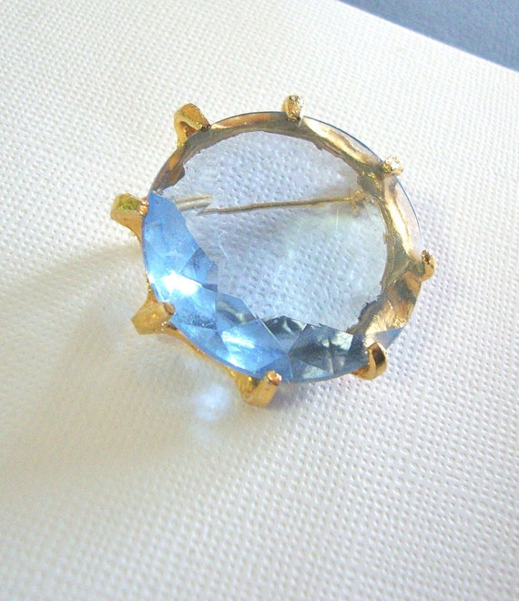 Vintage Baby Blue Crystal Brooch - Huge Stone
