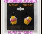 Pink Lemonade Cupcakes Polymer Clay Post Earrings Miniature Food