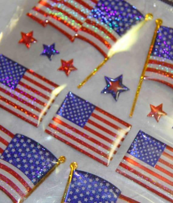 American Flag dimensional glitter stickers destash - new unused