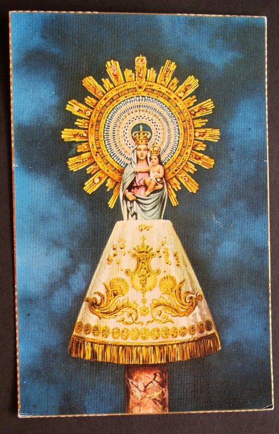 Mary with child vintage spanish postcard gold and blue