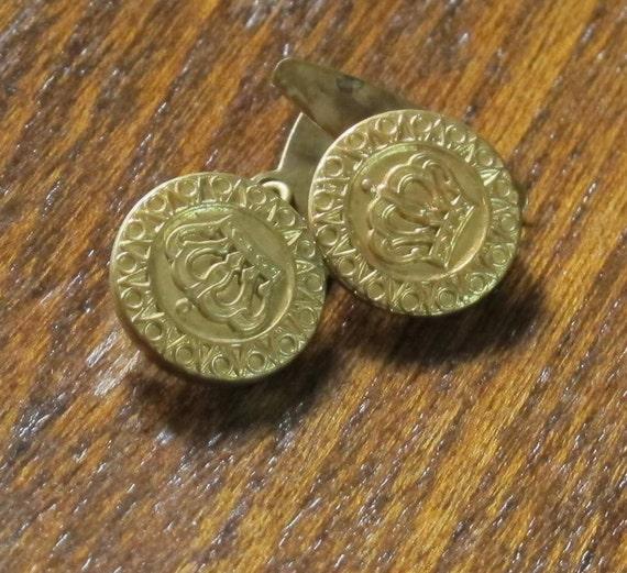 Brass crown cufflinks Vintage 30% OFF SALE