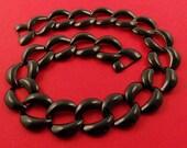 Vintage Jumbo Black Glossy Enameled Steel Chain Ch02